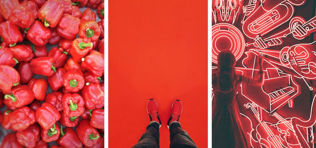 Red colour theory in web design image